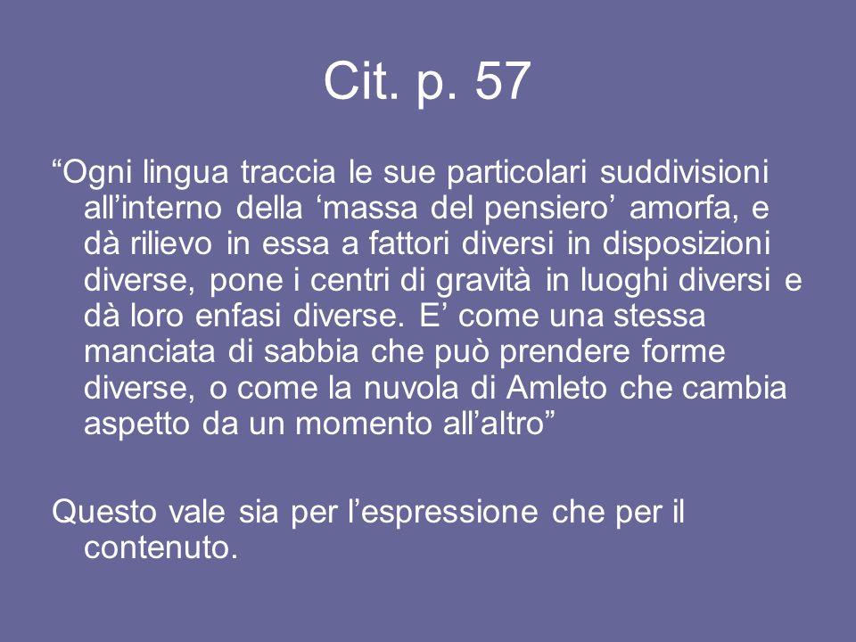 Cit. p. 57 Ogni lingua traccia le sue particolari suddivisioni allinterno della massa del pensiero amorfa, e dà rilievo in essa a fattori diversi in d