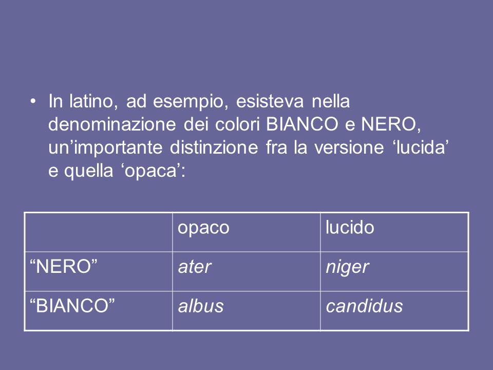 In latino, ad esempio, esisteva nella denominazione dei colori BIANCO e NERO, unimportante distinzione fra la versione lucida e quella opaca: opacoluc