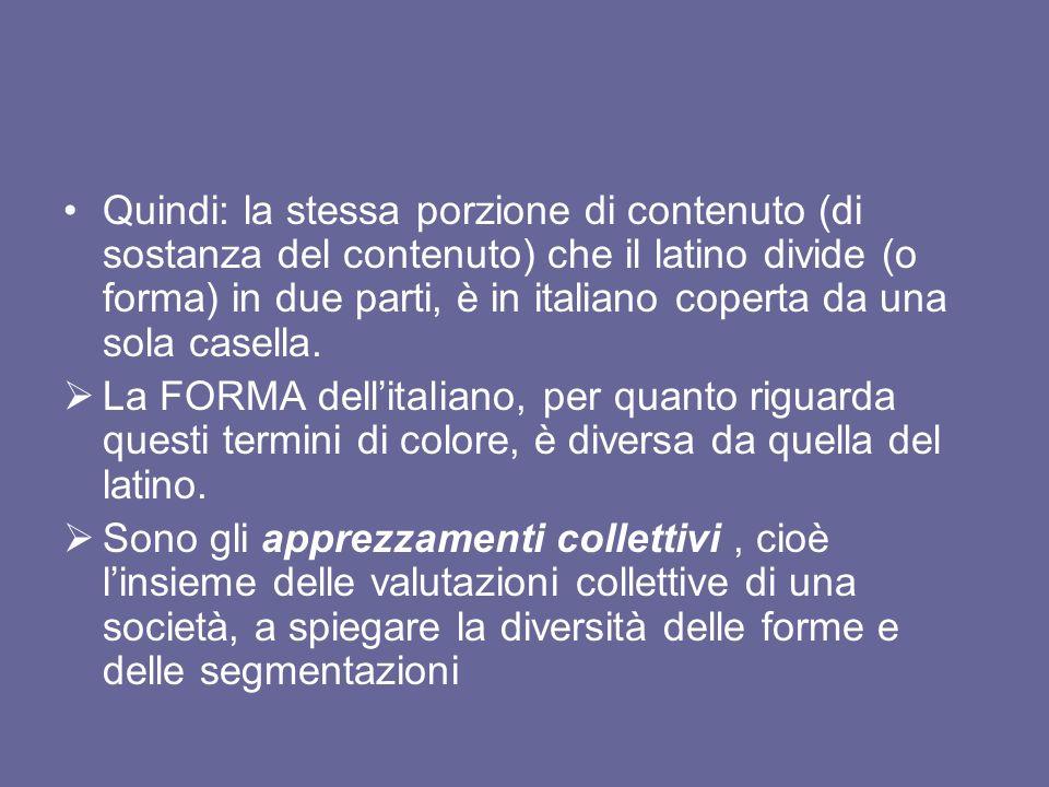 Quindi: la stessa porzione di contenuto (di sostanza del contenuto) che il latino divide (o forma) in due parti, è in italiano coperta da una sola cas