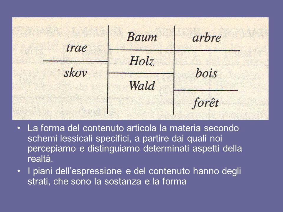 La forma del contenuto articola la materia secondo schemi lessicali specifici, a partire dai quali noi percepiamo e distinguiamo determinati aspetti d