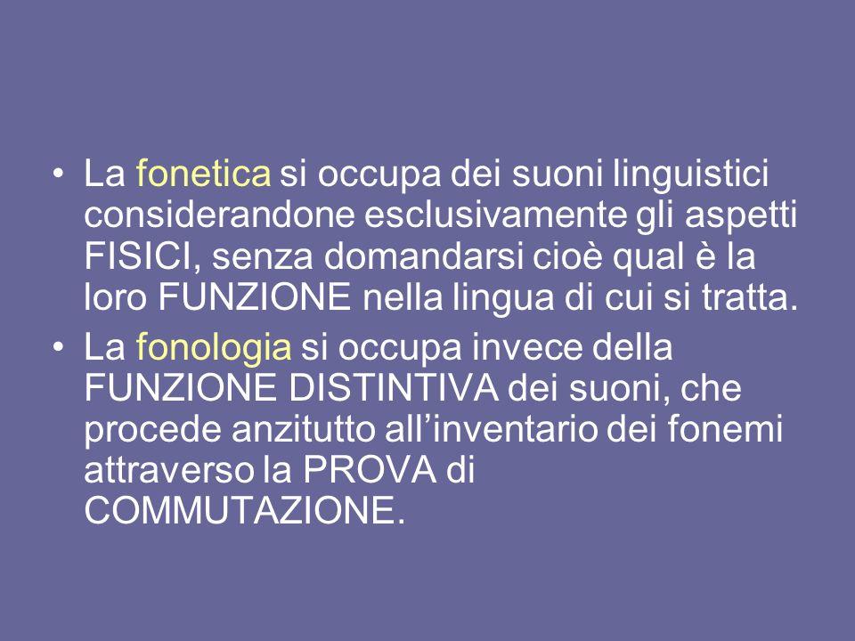 La fonetica si occupa dei suoni linguistici considerandone esclusivamente gli aspetti FISICI, senza domandarsi cioè qual è la loro FUNZIONE nella ling