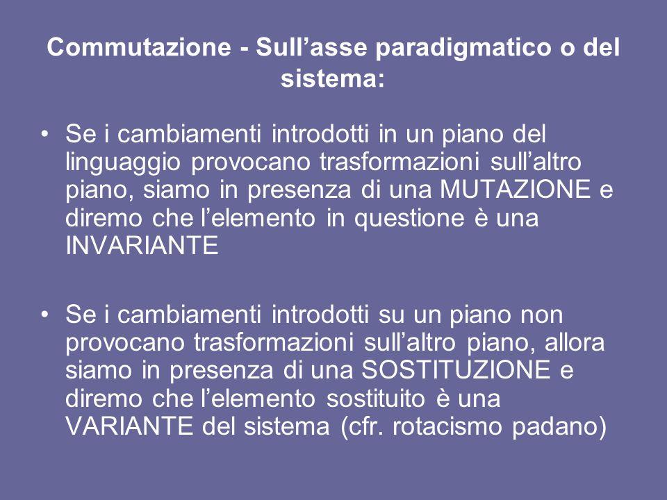 Commutazione - Sullasse paradigmatico o del sistema: Se i cambiamenti introdotti in un piano del linguaggio provocano trasformazioni sullaltro piano,