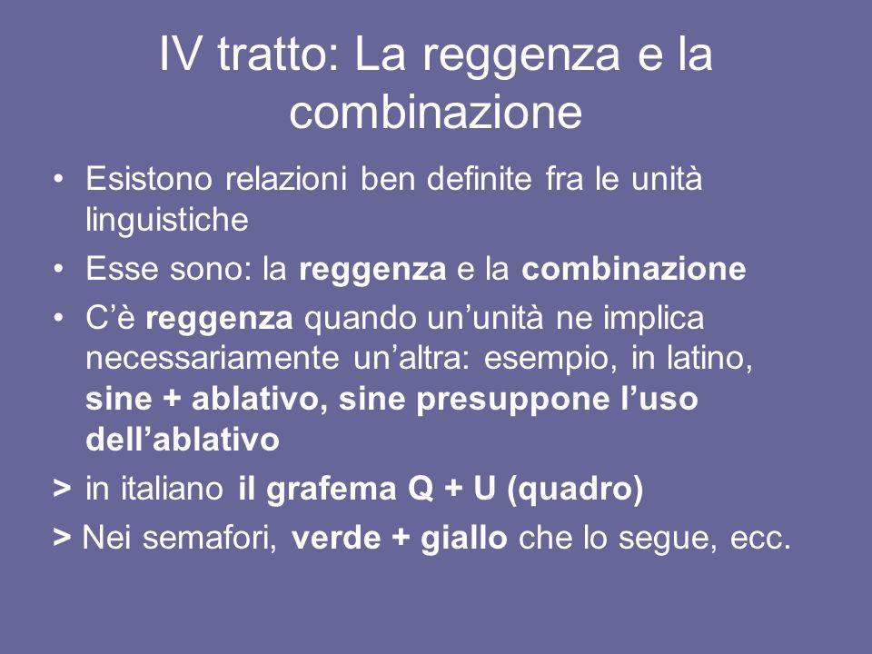 IV tratto: La reggenza e la combinazione Esistono relazioni ben definite fra le unità linguistiche Esse sono: la reggenza e la combinazione Cè reggenz