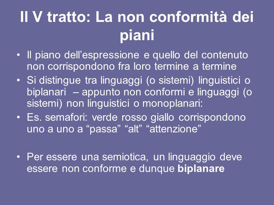 Il V tratto: La non conformità dei piani Il piano dellespressione e quello del contenuto non corrispondono fra loro termine a termine Si distingue tra