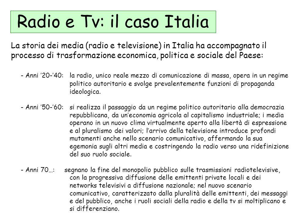 Radio e Tv: il caso Italia La storia dei media (radio e televisione) in Italia ha accompagnato il processo di trasformazione economica, politica e soc