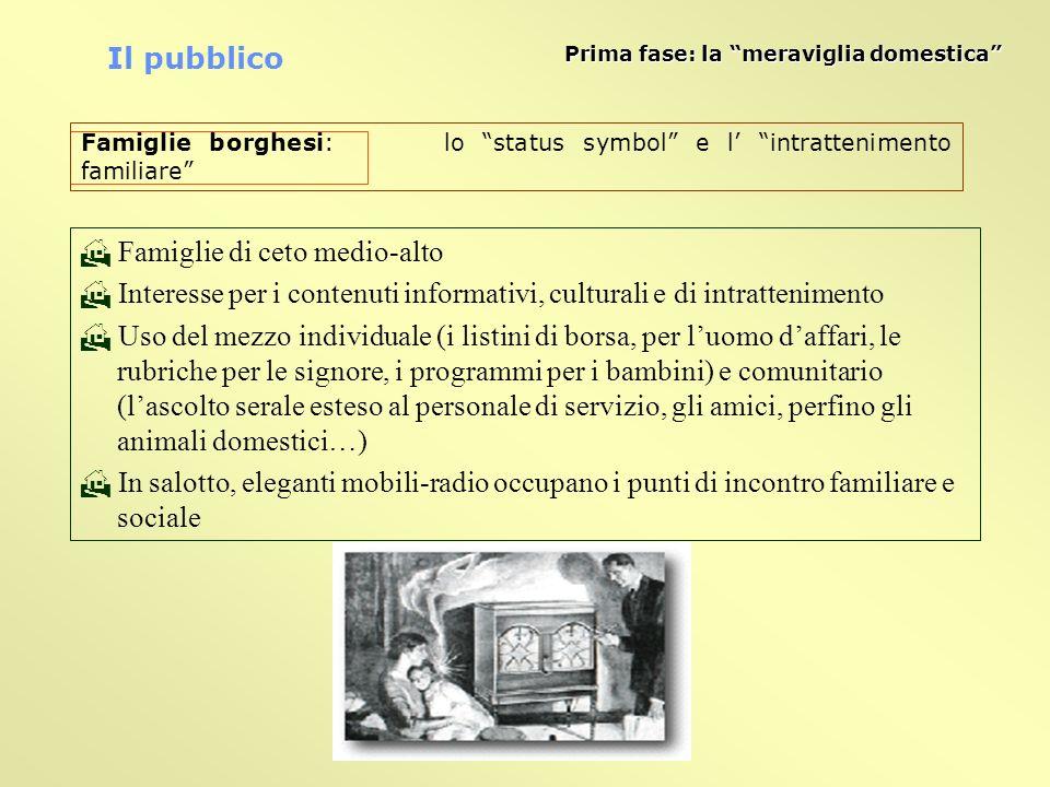 Famiglie di ceto medio-alto Interesse per i contenuti informativi, culturali e di intrattenimento Uso del mezzo individuale (i listini di borsa, per l