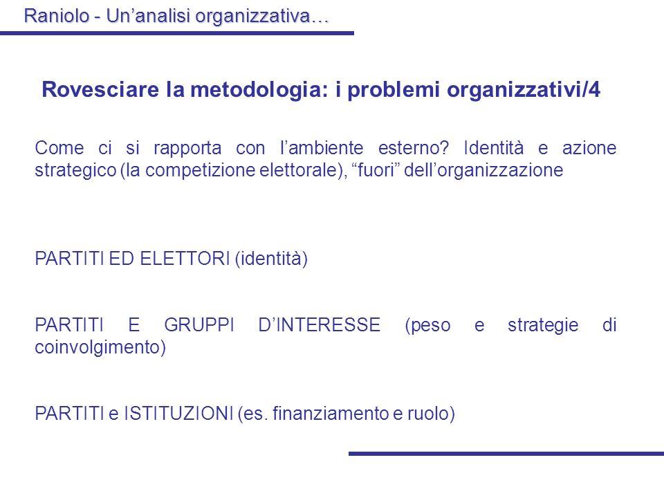 Raniolo - Unanalisi organizzativa… Rovesciare la metodologia: i problemi organizzativi/3 Come ci si rapporta con il problema delle risorse? La questio