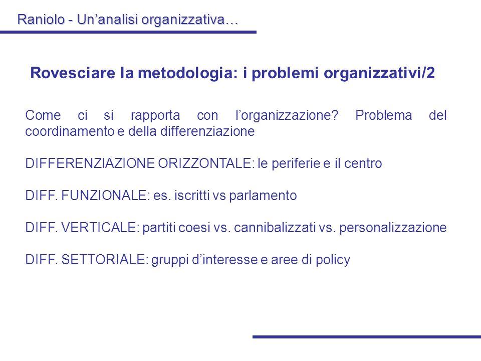 Raniolo - Unanalisi organizzativa… Rovesciare la metodologia: i problemi organizzativi/1 Come e perché si entra nellorganizzazione? Problema dellazion