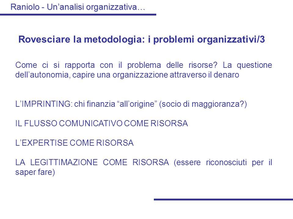 Raniolo - Unanalisi organizzativa… Rovesciare la metodologia: i problemi organizzativi/3 Come ci si rapporta con il problema delle risorse.