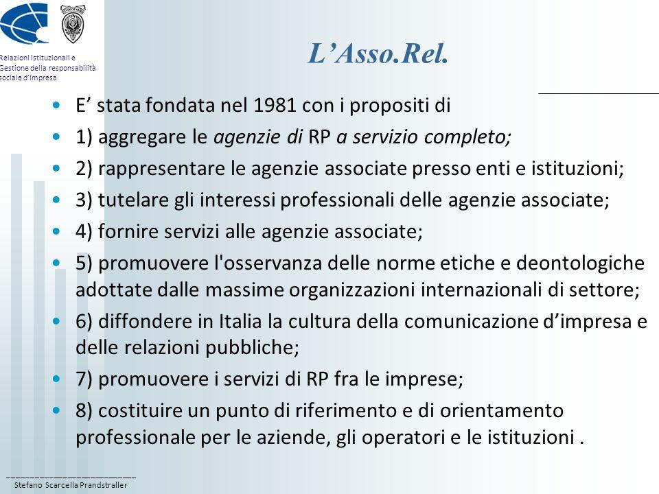 ____________________________ Stefano Scarcella Prandstraller Relazioni istituzionali e Gestione della responsabilità sociale dimpresa LAsso.Rel.