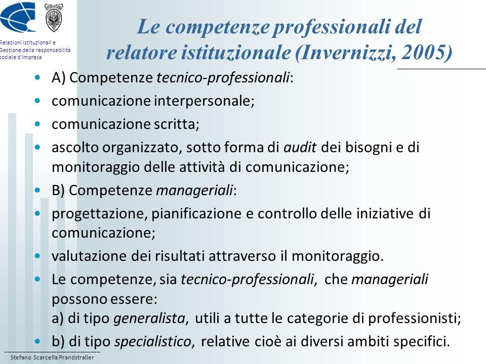 ____________________________ Stefano Scarcella Prandstraller Relazioni istituzionali e Gestione della responsabilità sociale dimpresa Le competenze professionali del relatore istituzionale (Invernizzi, 2005) A) Competenze tecnico-professionali: comunicazione interpersonale; comunicazione scritta; ascolto organizzato, sotto forma di audit dei bisogni e di monitoraggio delle attività di comunicazione; B) Competenze manageriali: progettazione, pianificazione e controllo delle iniziative di comunicazione; valutazione dei risultati attraverso il monitoraggio.