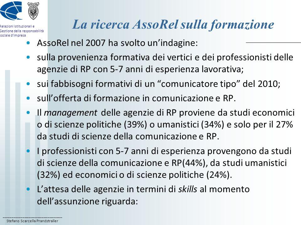 ____________________________ Stefano Scarcella Prandstraller Relazioni istituzionali e Gestione della responsabilità sociale dimpresa La ricerca AssoRel sulla formazione AssoRel nel 2007 ha svolto unindagine: sulla provenienza formativa dei vertici e dei professionisti delle agenzie di RP con 5-7 anni di esperienza lavorativa; sui fabbisogni formativi di un comunicatore tipo del 2010; sullofferta di formazione in comunicazione e RP.