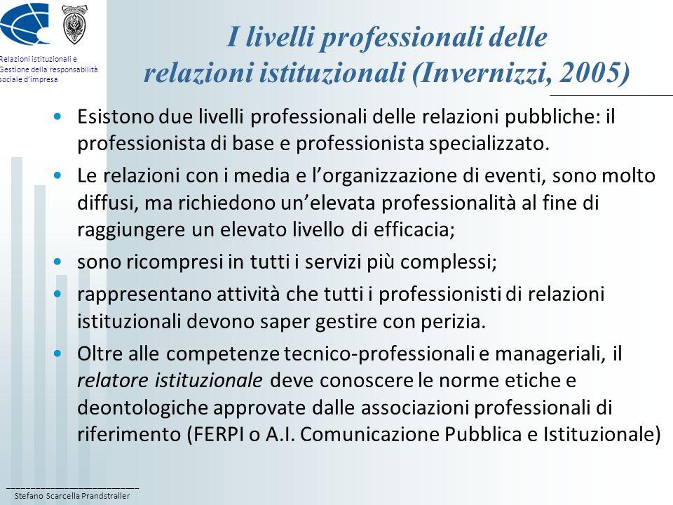 ____________________________ Stefano Scarcella Prandstraller Relazioni istituzionali e Gestione della responsabilità sociale dimpresa I livelli professionali delle relazioni istituzionali (Invernizzi, 2005) Esistono due livelli professionali delle relazioni pubbliche: il professionista di base e professionista specializzato.
