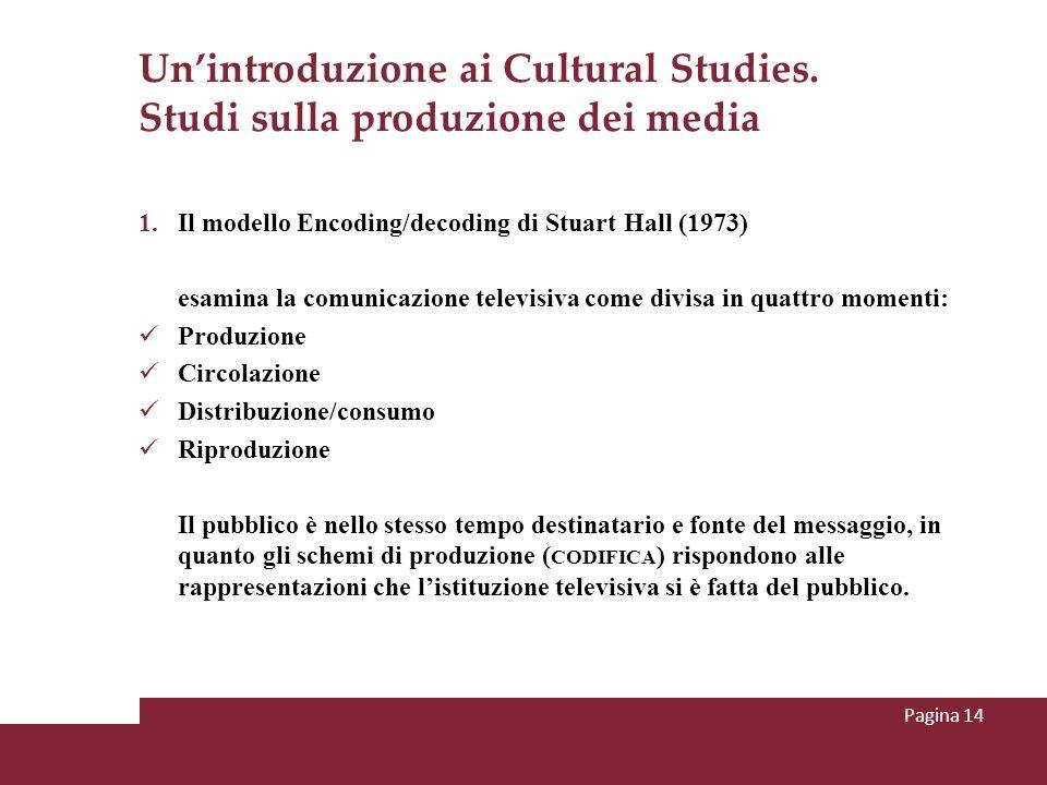 Unintroduzione ai Cultural Studies. Studi sulla produzione dei media 1.Il modello Encoding/decoding di Stuart Hall (1973) esamina la comunicazione tel
