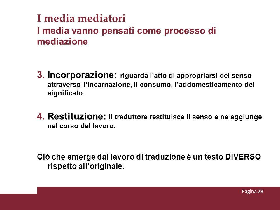 I media mediatori I media vanno pensati come processo di mediazione 3. Incorporazione: riguarda latto di appropriarsi del senso attraverso lincarnazio
