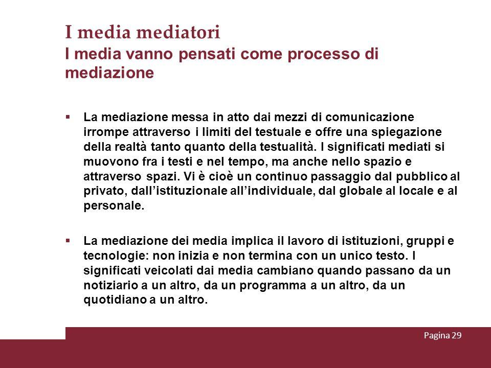 I media mediatori I media vanno pensati come processo di mediazione La mediazione messa in atto dai mezzi di comunicazione irrompe attraverso i limiti