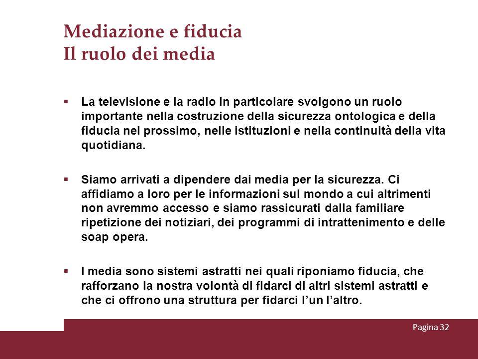 Mediazione e fiducia Il ruolo dei media La televisione e la radio in particolare svolgono un ruolo importante nella costruzione della sicurezza ontolo