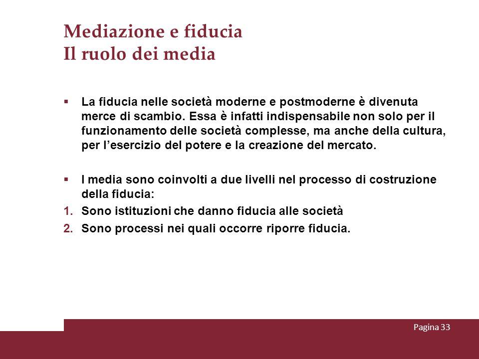Mediazione e fiducia Il ruolo dei media La fiducia nelle società moderne e postmoderne è divenuta merce di scambio. Essa è infatti indispensabile non