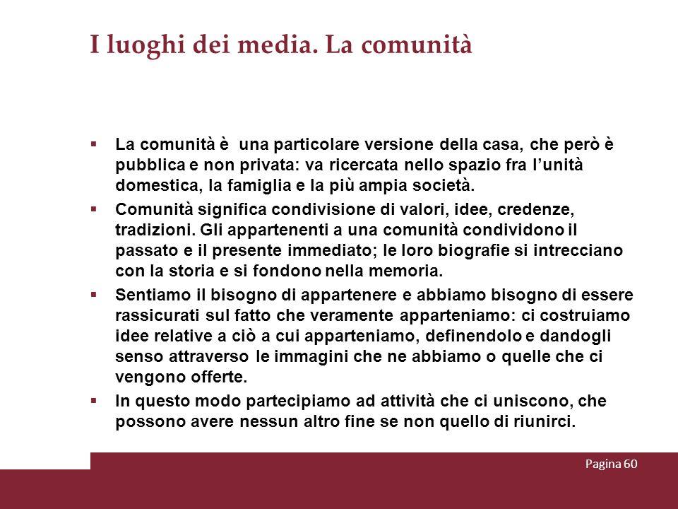 I luoghi dei media. La comunità La comunità è una particolare versione della casa, che però è pubblica e non privata: va ricercata nello spazio fra lu