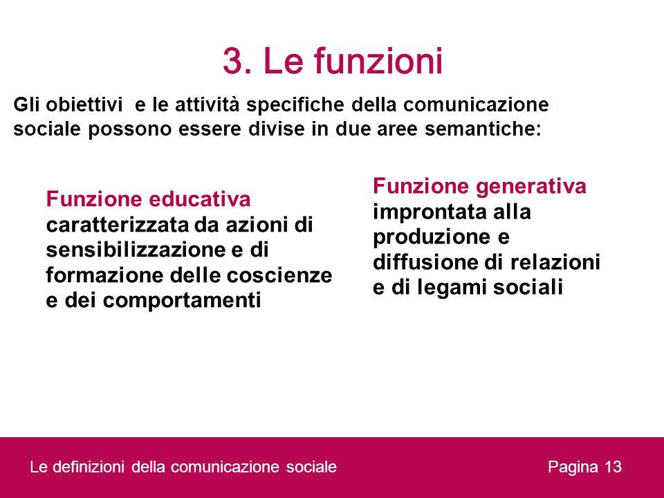3. Le funzioni Pagina 13 Gli obiettivi e le attività specifiche della comunicazione sociale possono essere divise in due aree semantiche: Funzione edu