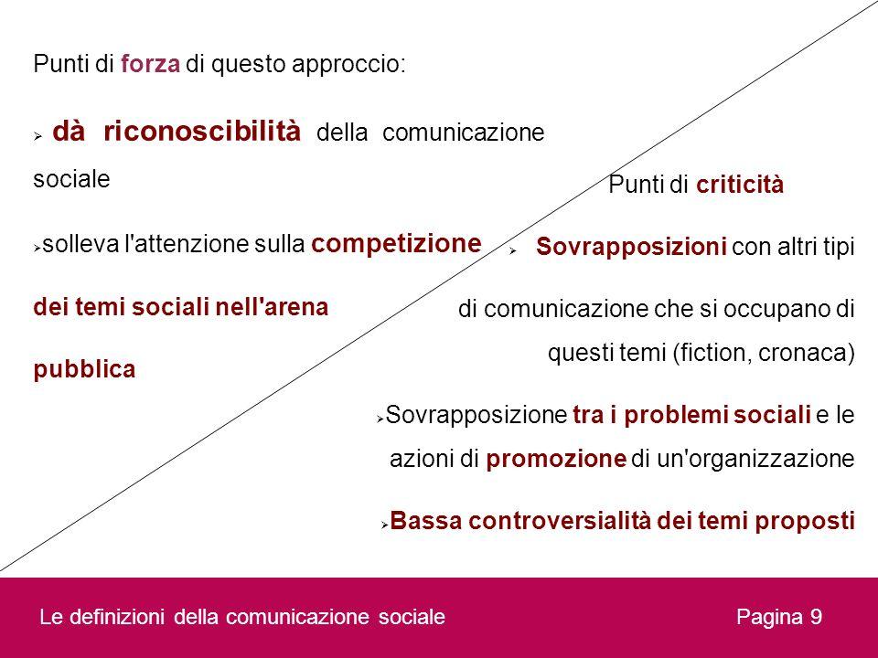 Pagina 9 Punti di forza di questo approccio: dà riconoscibilità della comunicazione sociale solleva l'attenzione sulla competizione dei temi sociali n