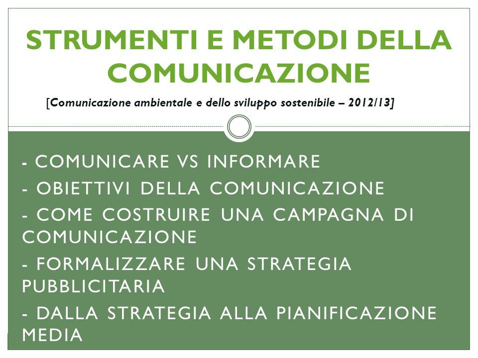- COMUNICARE VS INFORMARE - OBIETTIVI DELLA COMUNICAZIONE - COME COSTRUIRE UNA CAMPAGNA DI COMUNICAZIONE - FORMALIZZARE UNA STRATEGIA PUBBLICITARIA -