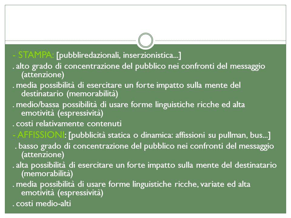 - STAMPA: [pubbliredazionali, inserzionistica...]. alto grado di concentrazione del pubblico nei confronti del messaggio (attenzione). media possibili