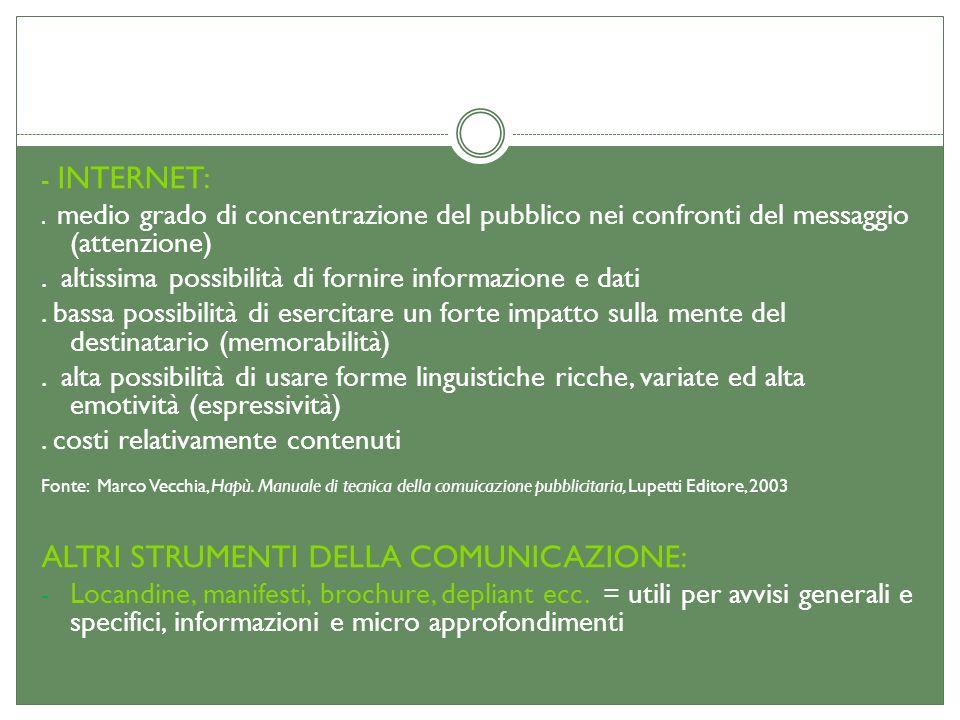 - INTERNET:. medio grado di concentrazione del pubblico nei confronti del messaggio (attenzione). altissima possibilità di fornire informazione e dati