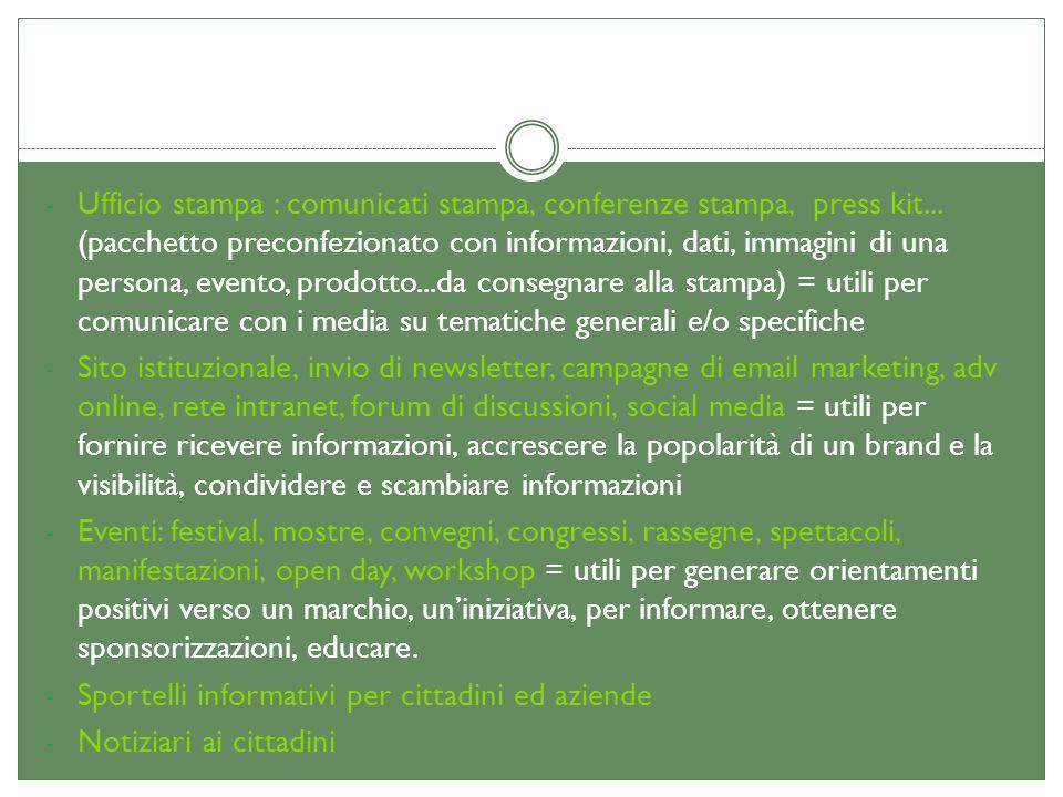 - Ufficio stampa : comunicati stampa, conferenze stampa, press kit... (pacchetto preconfezionato con informazioni, dati, immagini di una persona, even