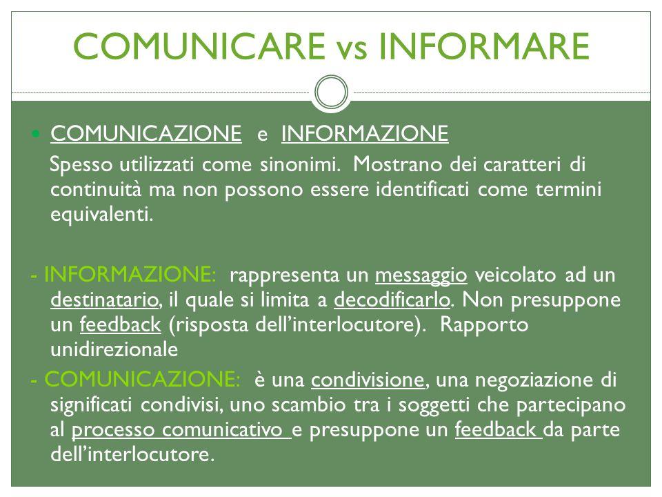 COMUNICARE vs INFORMARE COMUNICAZIONE e INFORMAZIONE Spesso utilizzati come sinonimi. Mostrano dei caratteri di continuità ma non possono essere ident