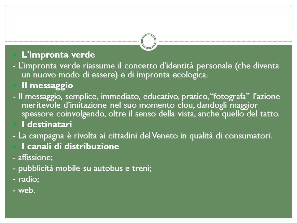 L'impronta verde - Limpronta verde riassume il concetto didentità personale (che diventa un nuovo modo di essere) e di impronta ecologica. Il messaggi