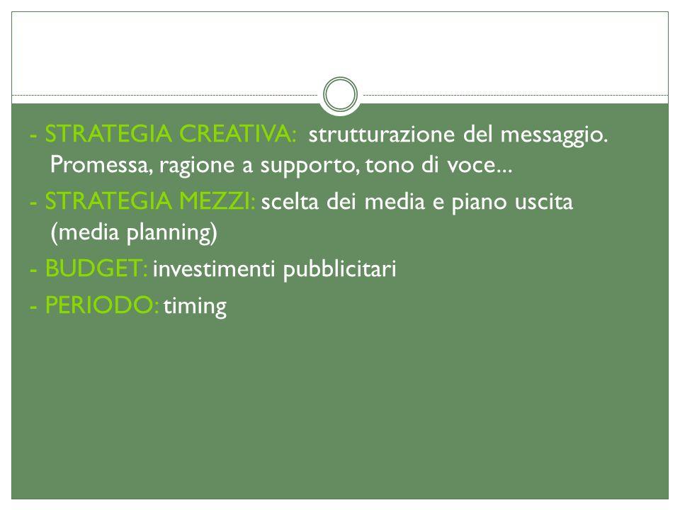 - STRATEGIA CREATIVA: strutturazione del messaggio. Promessa, ragione a supporto, tono di voce... - STRATEGIA MEZZI: scelta dei media e piano uscita (