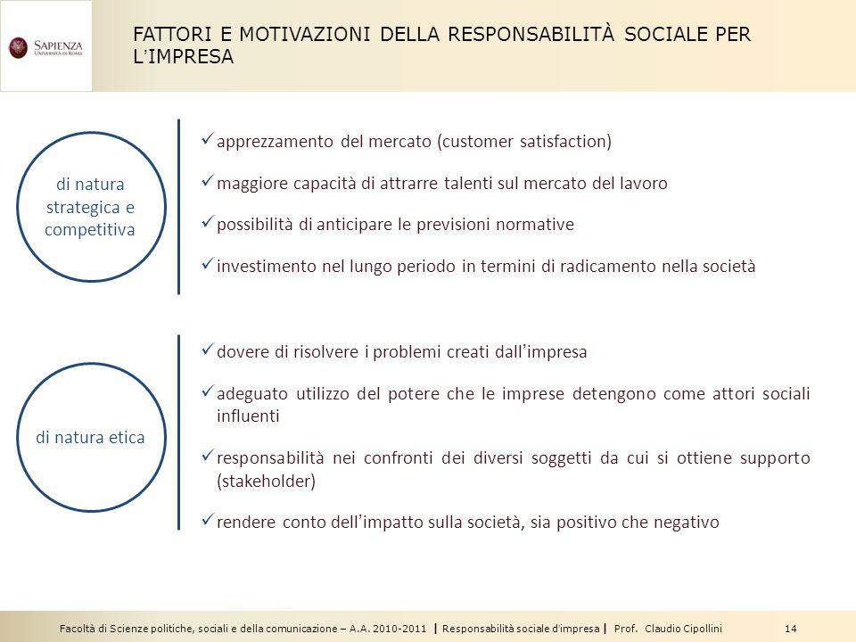 Facoltà di Scienze politiche, sociali e della comunicazione – A.A. 2010-2011 | Responsabilità sociale dimpresa | Prof. Claudio Cipollini 14 apprezzame