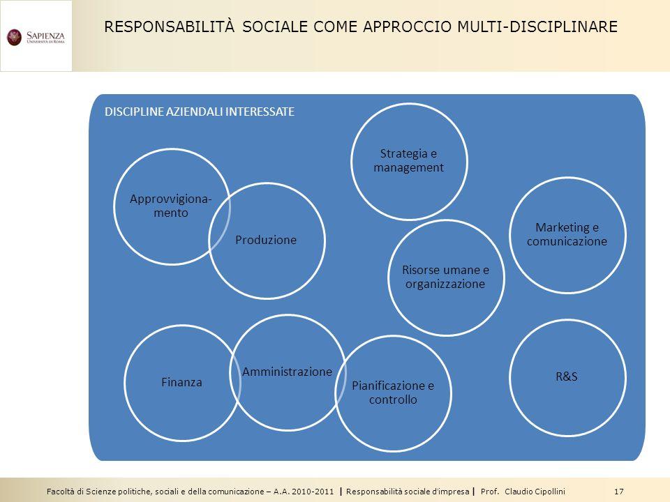 Facoltà di Scienze politiche, sociali e della comunicazione – A.A. 2010-2011 | Responsabilità sociale dimpresa | Prof. Claudio Cipollini 17 DISCIPLINE