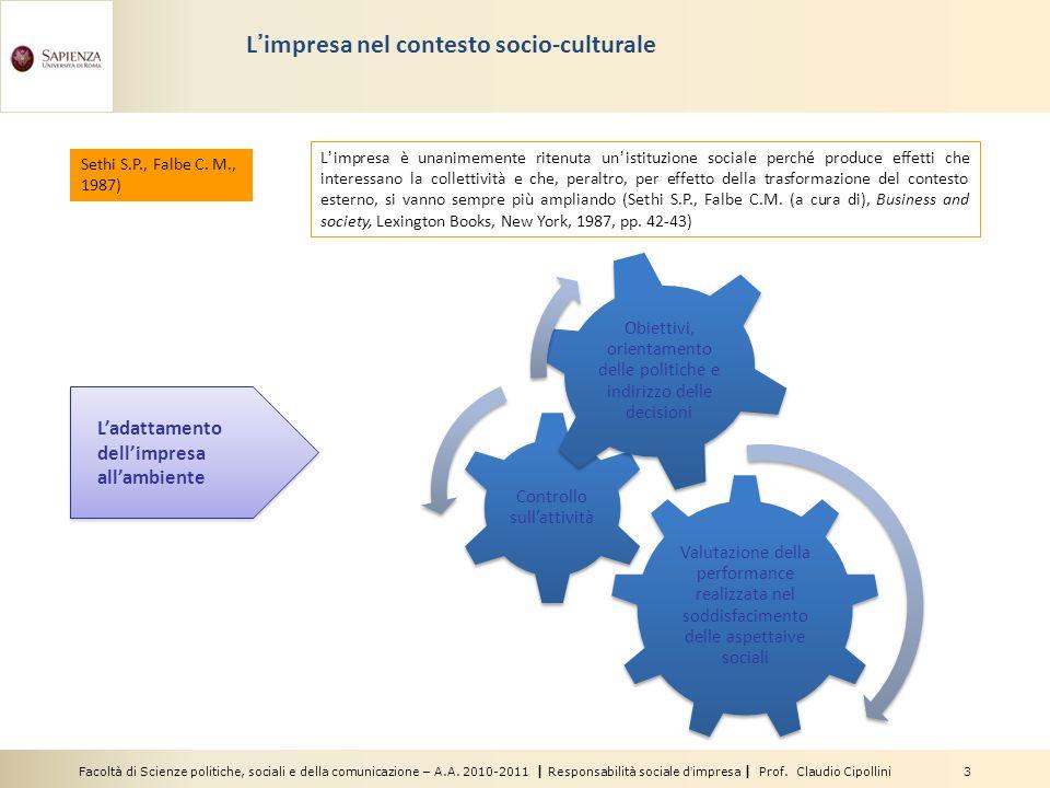 Facoltà di Scienze politiche, sociali e della comunicazione – A.A. 2010-2011 | Responsabilità sociale dimpresa | Prof. Claudio Cipollini 3 Limpresa ne