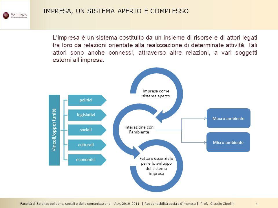 Facoltà di Scienze politiche, sociali e della comunicazione – A.A. 2010-2011 | Responsabilità sociale dimpresa | Prof. Claudio Cipollini 4 IMPRESA, UN