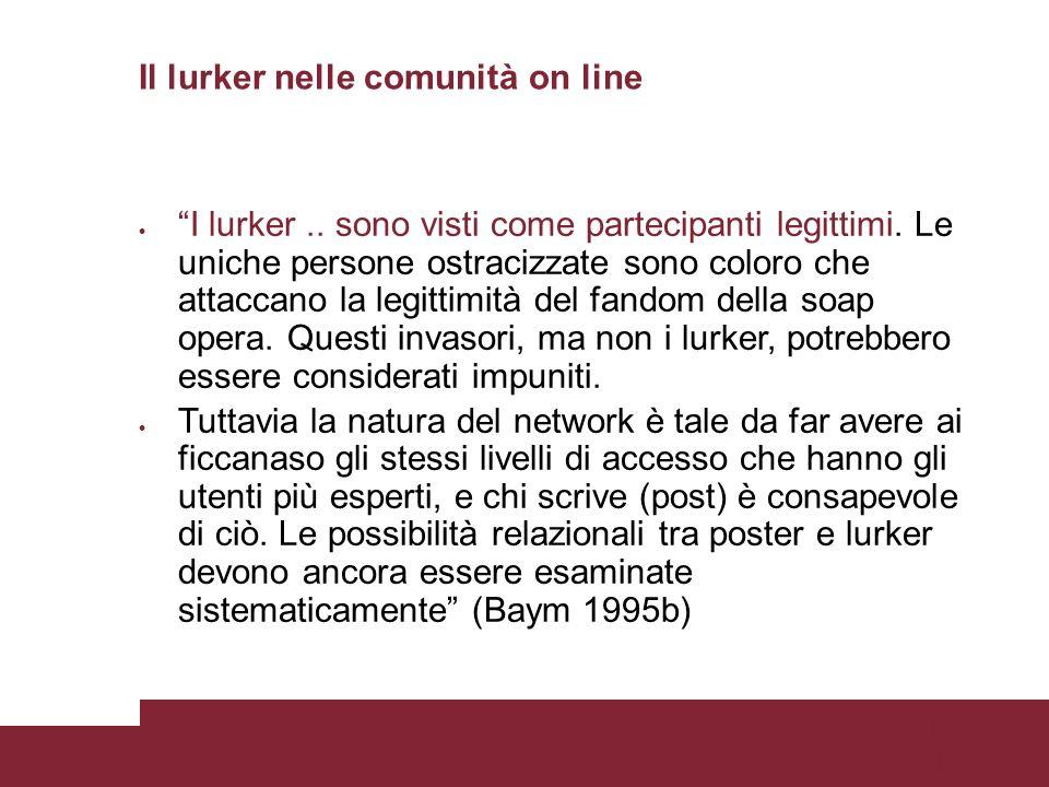 Pagina 15 Il lurker nelle comunità on line I lurker..