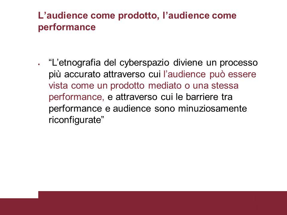 Pagina 17 Laudience come prodotto, laudience come performance Letnografia del cyberspazio diviene un processo più accurato attraverso cui laudience può essere vista come un prodotto mediato o una stessa performance, e attraverso cui le barriere tra performance e audience sono minuziosamente riconfigurate