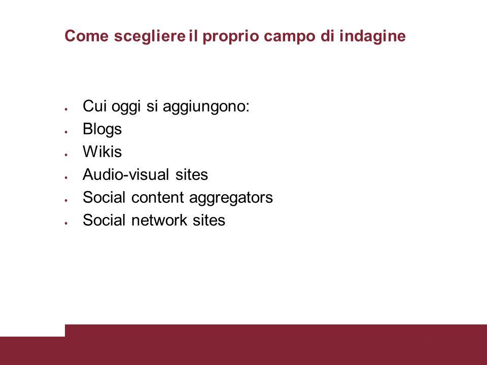 Pagina 47 Come scegliere il proprio campo di indagine Cui oggi si aggiungono: Blogs Wikis Audio-visual sites Social content aggregators Social network sites Pagina 47