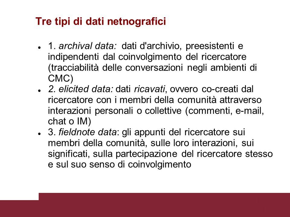 Pagina 51 Tre tipi di dati netnografici 1.
