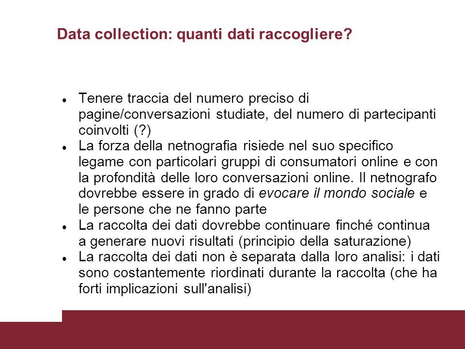 Pagina 56 Data collection: quanti dati raccogliere.