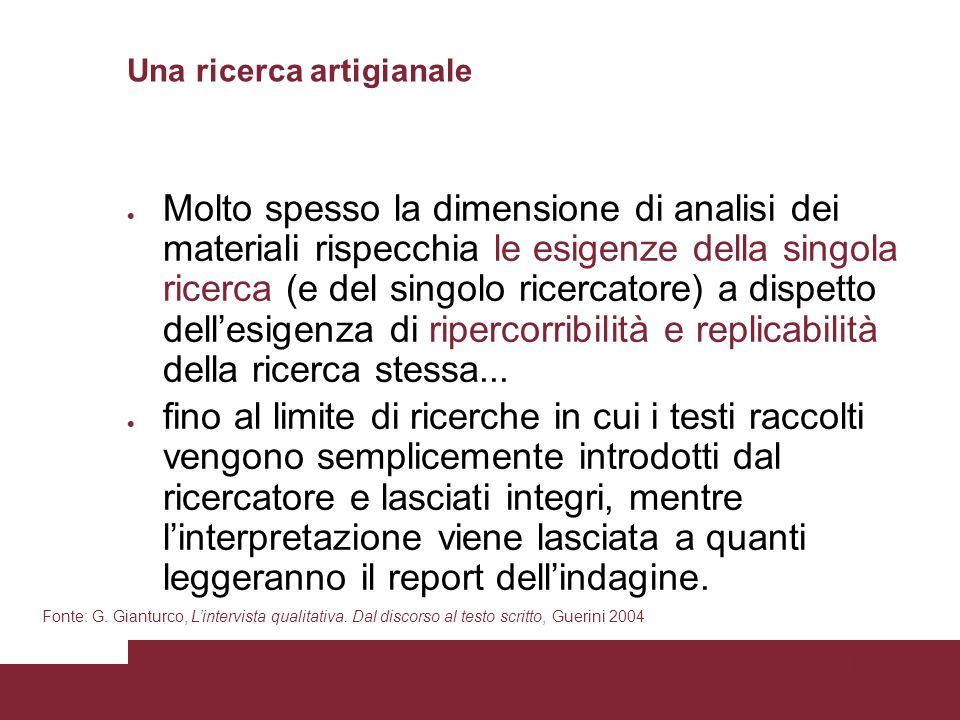 Pagina 66 Una ricerca artigianale Molto spesso la dimensione di analisi dei materiali rispecchia le esigenze della singola ricerca (e del singolo ricercatore) a dispetto dellesigenza di ripercorribilità e replicabilità della ricerca stessa...
