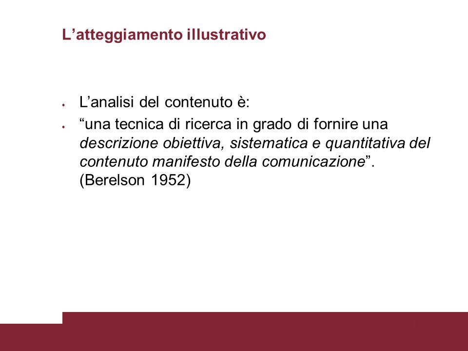 Pagina 77 Latteggiamento illustrativo Lanalisi del contenuto è: una tecnica di ricerca in grado di fornire una descrizione obiettiva, sistematica e quantitativa del contenuto manifesto della comunicazione.