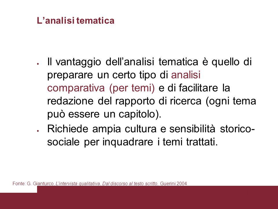 Pagina 83 Lanalisi tematica Il vantaggio dellanalisi tematica è quello di preparare un certo tipo di analisi comparativa (per temi) e di facilitare la redazione del rapporto di ricerca (ogni tema può essere un capitolo).
