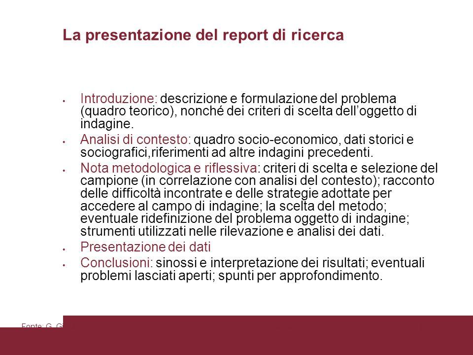 Pagina 86 La presentazione del report di ricerca Introduzione: descrizione e formulazione del problema (quadro teorico), nonché dei criteri di scelta delloggetto di indagine.