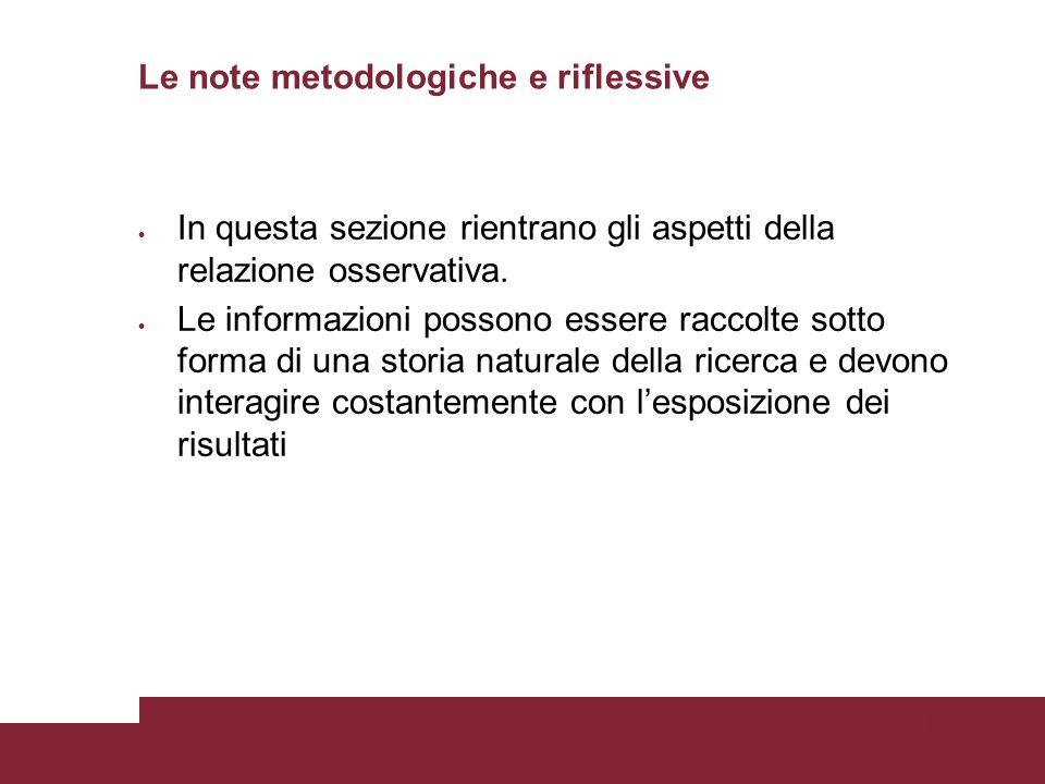 Pagina 89 Le note metodologiche e riflessive In questa sezione rientrano gli aspetti della relazione osservativa.