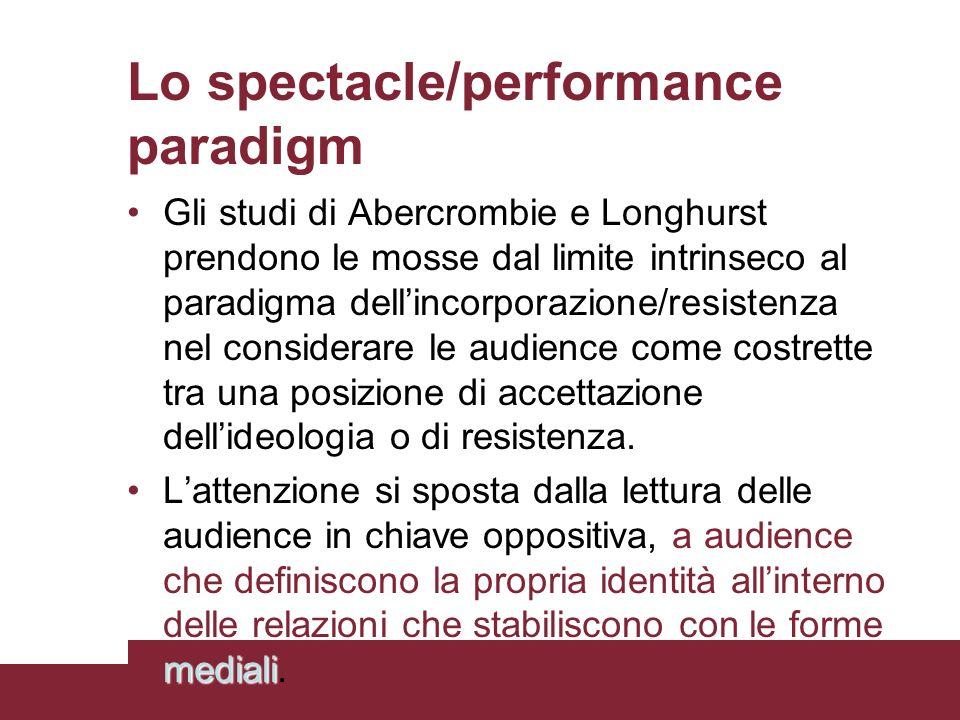 Lo spectacle/performance paradigm Gli studi di Abercrombie e Longhurst prendono le mosse dal limite intrinseco al paradigma dellincorporazione/resiste