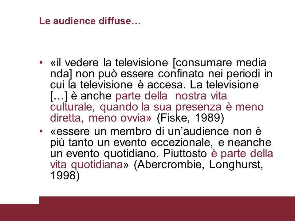 Le audience diffuse… «il vedere la televisione [consumare media nda] non può essere confinato nei periodi in cui la televisione è accesa. La televisio