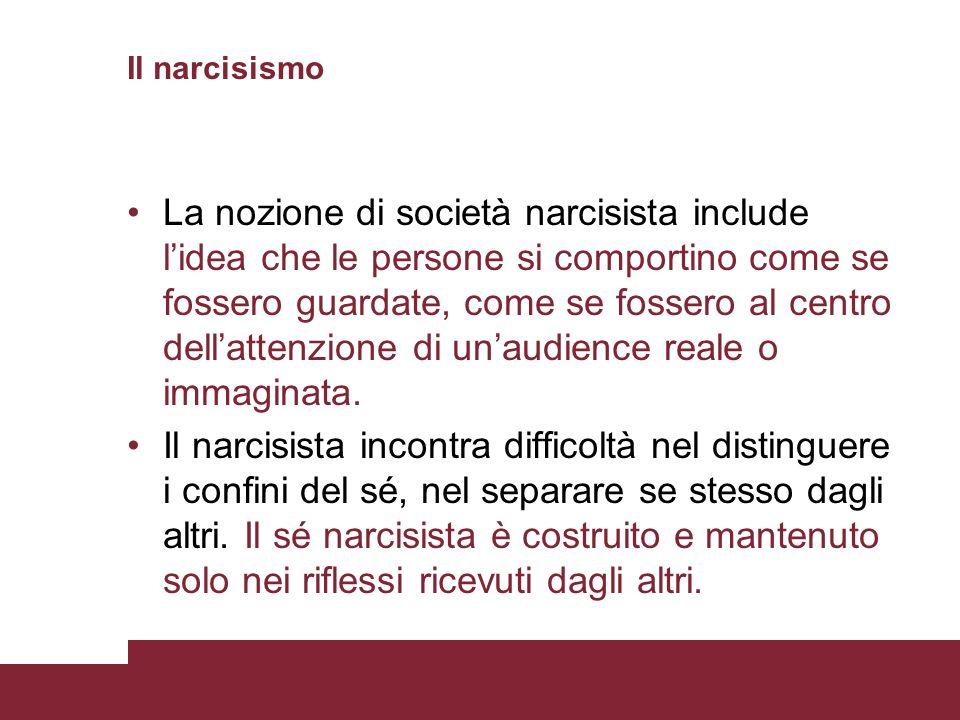 Il narcisismo La nozione di società narcisista include lidea che le persone si comportino come se fossero guardate, come se fossero al centro dellatte