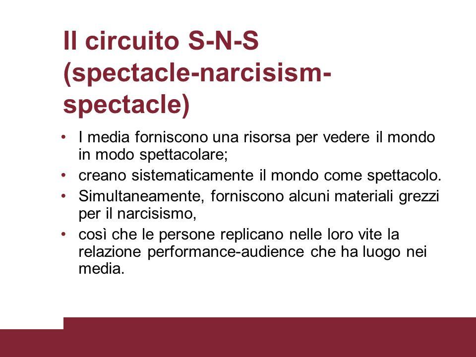 Il circuito S-N-S (spectacle-narcisism- spectacle) una risorsa per vedere il mondo in modo spettacolareI media forniscono una risorsa per vedere il mo